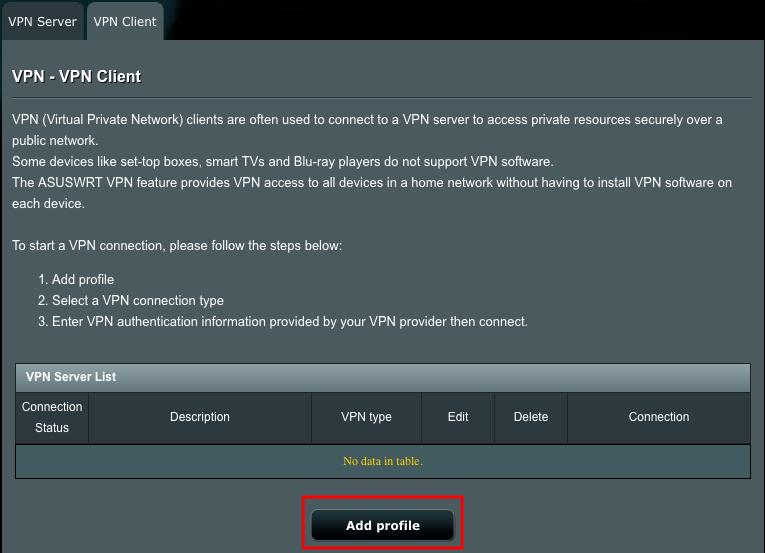Asus VPN router setup step 5